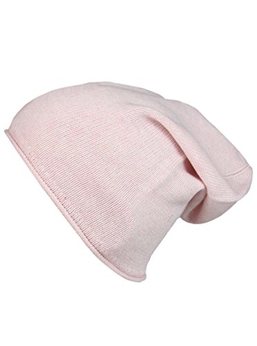 Cashmere Dreams Cashmere Dreams Slouch-Beanie-Mütze mit Kaschmir - Hochwertige Strickmütze für Damen Mädchen Jungen - Hat - Unisex - One Size - warm und weich im Sommer Herbst und Winter Zwillingsherz (rosa)