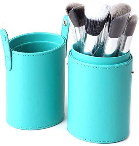 WOCTP Professionnel 12 Baril Brosses Multicolore Haut De Gamme PU Grand Cosmétique Couvercle De Seau Brosses Fibre Cheveux Seau Couvercle Brosses,Blue
