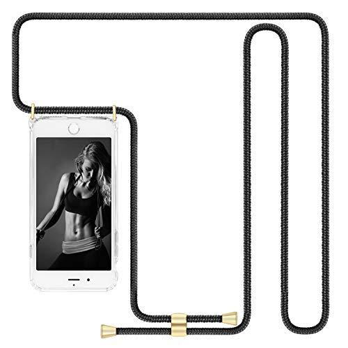 IMIKOKO Handykette Hülle für iPhone 7/iPhone 8/iPhone SE(2020) Necklace Hülle mit Kordel zum Umhängen durchsichtig Silikon Handy Schutzhülle mit Band - Schnur mit Hülle zum umhängen