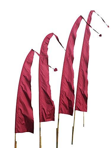 DEKOVALENZ Balifahnen-Stoff SANUR |mit herzförmiger Spitze | Umbul Asien-Fahnen | Fahnenlänge: 4 Meter | Farbe: Kirschrot