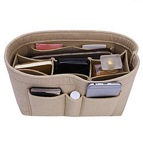 Purse Organizer Insert, Felt Bag Organizer For Handbag Purse Organizer,13 Colors, 6 Size (Small, Beige)