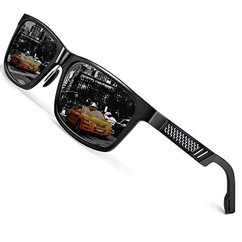 ROCKNIGHT驾驶太阳镜男性偏振紫外线防护铝镁金属框架眼镜轻便的黑色太阳镜户外