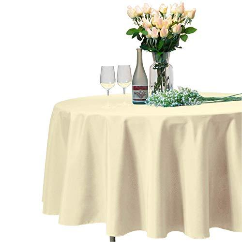 VEEYOO Tonda Rettangolare Quadrato Solido Poliestere tovaglia Matrimonio Ristorante Party tovaglia, Tessuto, Beige, Rotondo-305 cm