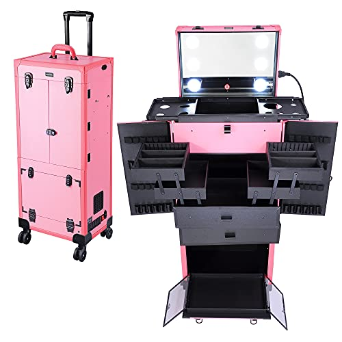 Byootique Pink Rolling Makeup Case with Mirror Light Pro Large Cosmetic Artists Hair Stylist Barber Organized Trolley Lockable