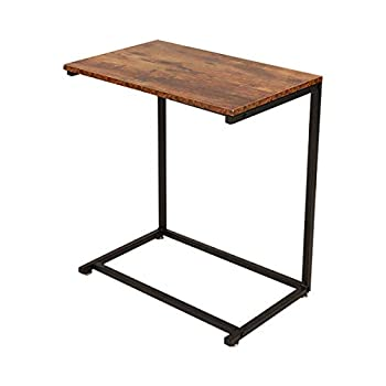 C Shaped Sofa Side End Table Notebook Laptop Holder Over Bed Table Snack Coffee TV Tray Side Accent Couch Table Beside Sofa Portable Workstation  Rustic Brown