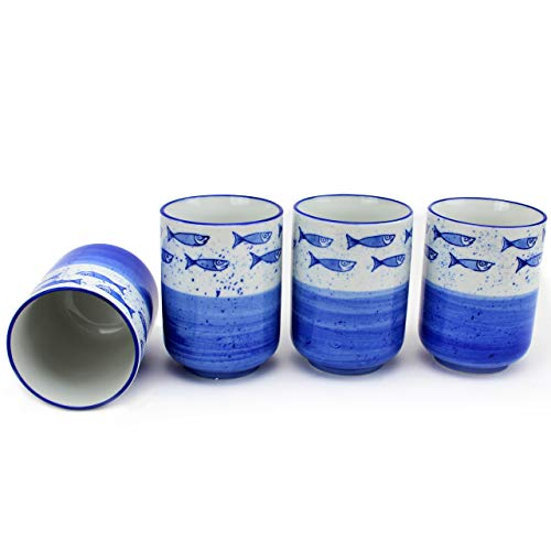 Set of 4 カップ Japanese Porcelain Ceramic Teacup Set Fish Design Sushi Teacup Gift Pack for Home Decor Business Gift (F15730)