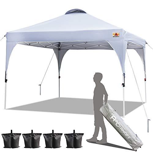 ABCCANOPY Patio 3x3m Pop Up Gazebo Tent Canopy Beach Gazebo Outdoor Gazebos Portable Gazebo Shade Gazebo Tent with Wheeled Carry Bag Bonus 4xWeight Bags,4xRopes&4xStakes(3x3,White Frame)