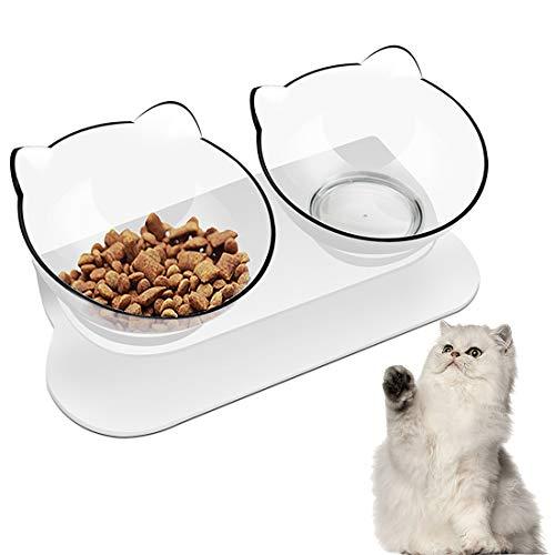 Futternäpfe Katzenfutter,Futternapf Katze Gekippte,Doppelschüssel Hundenapf Katzennapf, 15° Gekippte Plattform katzennäpfe/Hundenapf für Katze Welpe Futter und Wasser