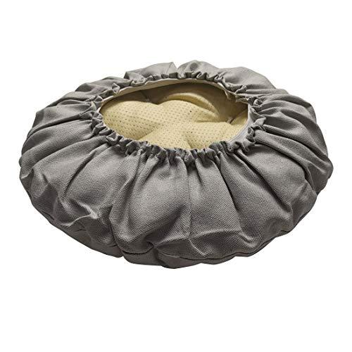Levoberg - Funda de taburete redondo de bar de algodón relleno de asiento redondo grueso con banda elástica 35 cm, color gris claro
