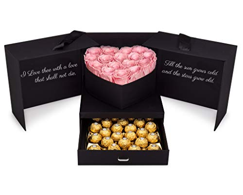 Pink Eternal Roses and Chocolates Gift Box | Romantic Gift Basket with Real Preserved Roses and Hazelnut Chocolates