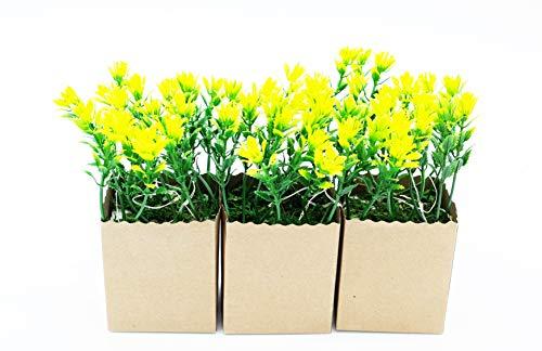 HEITMANN DECO - Kunstpflanze in Papiertüte, mit LED, 3er Set, grün/weiß/braun - Ganzjahresdeko - ca. 7 x 6 x 14,5 cm, 5tlg