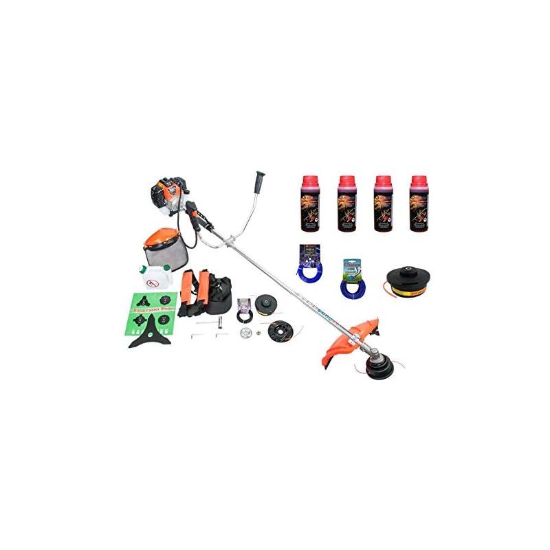 BENZIN RASENTRIMMER DEMON 5,2 PS Set mit 4 x Flaschen Öl 2 x Fadenkopf 2 x Faden – Motorsense Benzin Gartenwerkzeug…