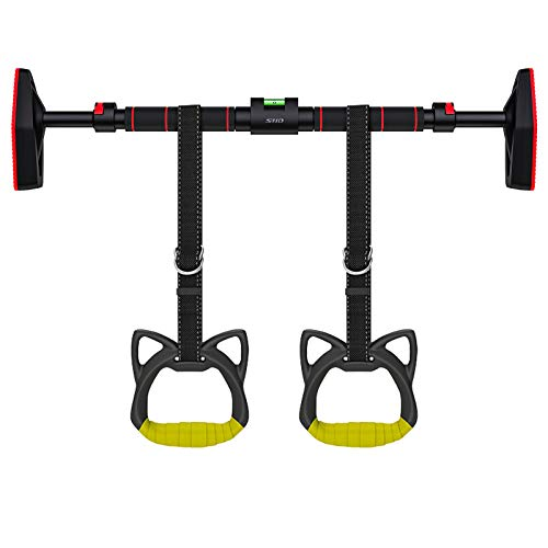 SND Doorway Pull Up Bar, Upper Body Home Gym Equipment with Automatic Locking,Level Meter, Adjustable Width,Non-Slip Exercise Rings,No Screw Chain-up Workout Bars for Men Women Kids 440LBS