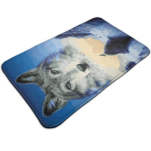 Watercolor Wolf Night Indoor/Outdoor Flat Made of 100% Polyester Extra Soft and Non Slip Area Rug for Bedroom, Kitchen, Living Room, Office, Playroom 40x60 cm