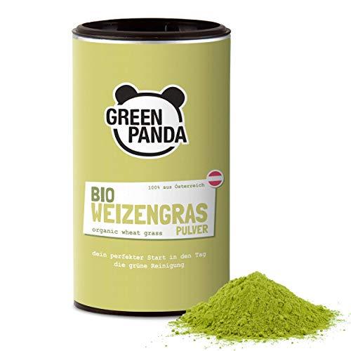 Green Panda® Weizengraspulver BIO aus jungem Weizengras, fein gemahlen auch für Weizengras Kapseln geeignet, Bio Weizengras aus österreichischem Anbau, laborgeprüft und zertifiziert, 125g