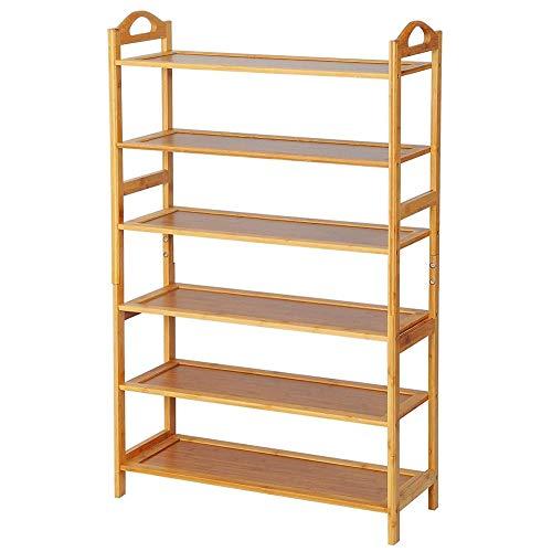 BAKAJI Libreria Scaffale 6 Ripiani in Legno di bambù Design Moderno per Soggiorno Salotto Casa Ufficio Dimensione 108 x 68 x 26 cm Colore Bamboo Naturale