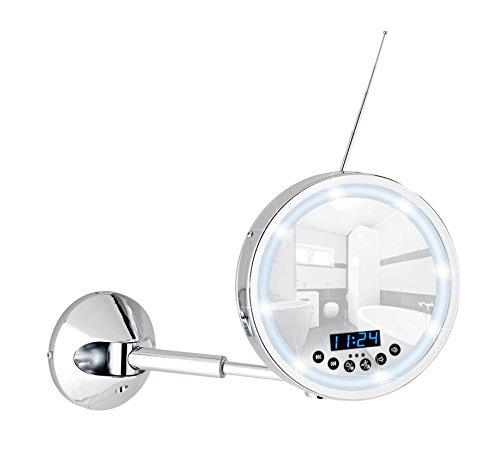 Wenko 21822100 LED Wandspiegel Imperial - 3-fach Vergrößerung, mit Bluetooth Funktion, USB-Port und Mikrofon, Spiegelfläche ø 16,5 cm 300% Vergrößerung, Stahl, 21 x 27 x 13-38 cm