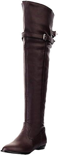 Hhor Bottes Chaussures pour Les Les dames Mode Bottes Bottes Longues Chevalier Bottes Tête Ronde Boucle de Ceinture Haute Bottes Plates Chaussures de Loisirs Bottes Courtes Bottes d'hiver élégant  marques de mode