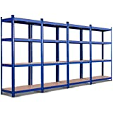 "TANGKULA Metal Storage Shelves, 63 inches Heavy Duty Steel Frame, Home Garage Multi-Use Storage Rack with Adjustable Shelves, 4-Tier Garage Shelf (32""L×16""W ×63""H) (4)"