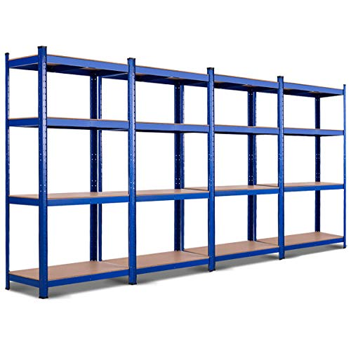 TANGKULA Metal Storage Shelves, 63 inches Heavy Duty Steel Frame, Home Garage Multi-Use Storage Rack with Adjustable Shelves, 4-Tier Garage Shelf (32