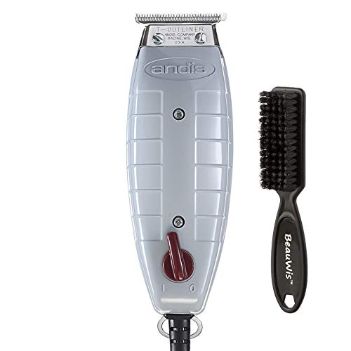 Andis Professional T-Outliner Beard/Hair Trimmer with T-Blade, Gray, Model GTO (04710) with a BeauWis Blade Brush