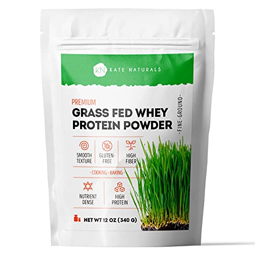 Premium Grass Fed Whey Protein Powder by Kate Naturals. 100% Natural & Vegan. Gluten-Free Nutrient-Dense Protein Powder. Ideal for Baking & Cooking. Resealable Bag. 12 oz.