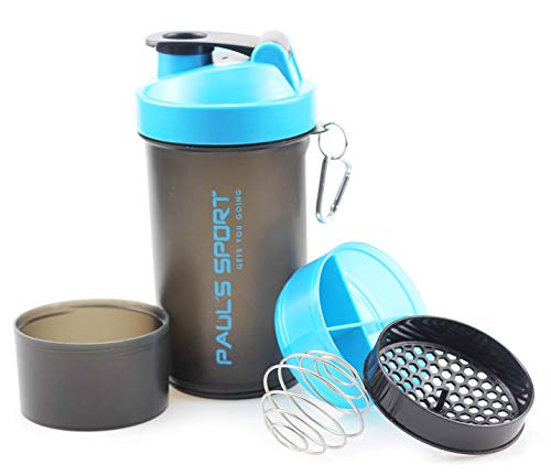 Paul´s Sport Protein Shaker mit zwei Pulverfächern, Gesamtkapazität 700 ml, skaliert bis 600 ml, Blenderball und Siebeinsatz für cremige Shakes, auslaufsicher und BPA frei