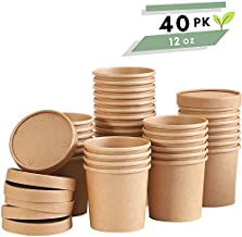Soup Containers To Go Microwaveable - 40 Pack 12 oz   Disposable Soup Bowls with Lids   Disposable Soup Cups with Lids   Party Supplies Treat Cups for Sundae, Frozen Yogurt, Chili, Dessert
