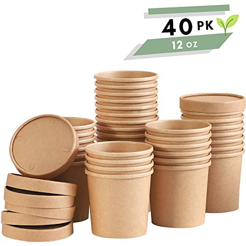 Soup Containers To Go Microwaveable - 40 Pack 12 oz | Disposable Soup Bowls with Lids | Disposable Soup Cups with Lids | Party Supplies Treat Cups for Sundae, Frozen Yogurt, Chili, Dessert