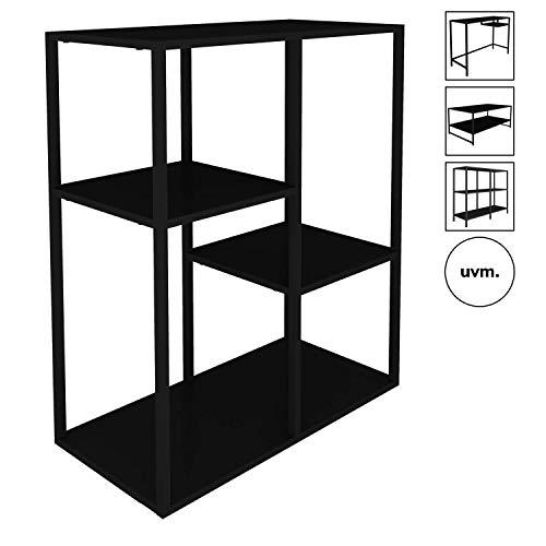 mokebo® Bücherregal 'Der Bücherwurm' aus Metall, auch als Raumteiler Regal oder Standregal, Designed in Denmark, B 60cm | H 81cm | T 30cm