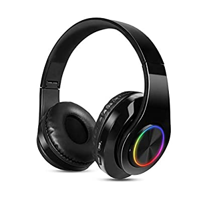 Bluetooth Headphones over Ear Sendowtek Wireless Headphones Stereo Noise Reduction CVC6.0 Foldable Earphones with Built-in Mic TF FM Wired Over Headphones for Mobile Phone Android PC Device(Black) from Sendowtek