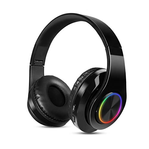 Sendowtek Auriculares Inalambricos Diadema con Microfono Cascos Bluetooth Inalámbrico Auriculares Cancelacion de Ruido Alta Fidelidad Estéreo para iPhone Android iPad PC (Negro)
