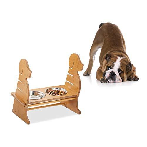 Relaxdays Futterbar für Hunde, 2 Edelstahl Hundenäpfe, je 1Liter groß, Dog-Design, höhenverstellbar, -Optik, Natur