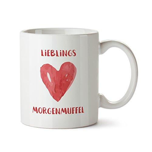 Partycards Tassen als Geschenkidee mit verschiedenen Motiven - Kaffebecher (Lieblings Morgenmuffel, 300ml)