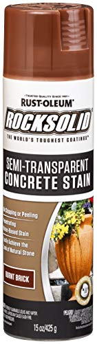 Rust-Oleum 247129 RockSolid Semi-Transparent Concrete Stain Spray, 15 oz, Burnt Brick
