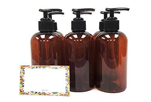 ljdeals 8 oz Amber Plastic Bottle with Black Lotion Pump, Pack of 6, BPA Free, Made in USA, Bonus 6 waterproof Labels