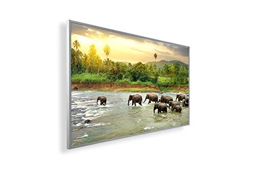 Bildheizung Infrarotheizung mit Digitalthermostat Elektroheizung mit Stecker für Steckdose - 5 Jahre Herstellergarantie- Elektroheizung mit Überhitzungsschutz - (300, Fluss mit Elefant)