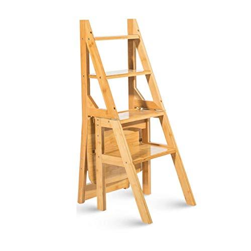SCJ Escalera de Madera Maciza Escalera Ascendente Plegable casera de 4 escalones, Estante multifunción, Trona Adulto para niños
