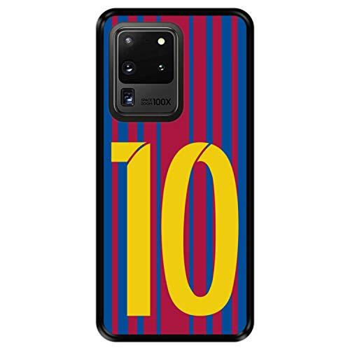 Hapdey Funda Negra para [ Samsung Galaxy S20 Ultra 5G ] diseño [ Ilustración fútbol, número 10 ] Carcasa Silicona Flexible TPU
