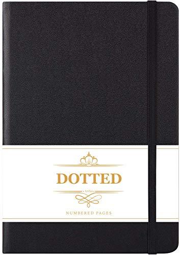 Bullet Journal Puntos - Libreta de puntos, diario punteado con 124 páginas numeradas, cuero sintético liso negro, 13x21.5cm