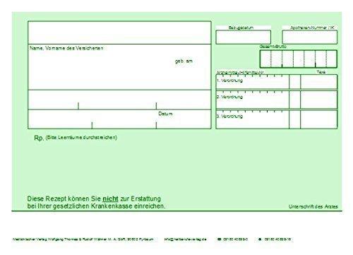 Grünes Rezept (nicht Erstattungsfähig) A6, 90 g/m², Chipkartengerecht mit PZNFeld, 240 Stück