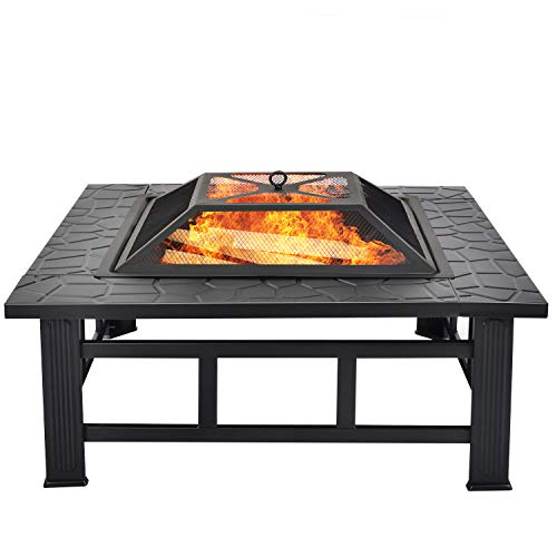 Fire Pit with BBQ Grill Shelf Outdoor Metal Brazier Square Table Garden φ81cm Patio Heater/BBQ/Ice 3 in 1 Pit with Spark Guard, Poker and Waterproof Cover