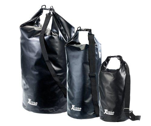 Xcase Packtasche: Urlauber-Set wasserdichte Packsäcke 16/25/70 Liter, schwarz (Seesack Rucksäcke wasserdicht)