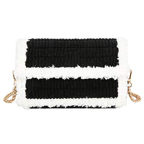 Yunobi - Bolsa tejida a mano para mujer con material y cadena, para invierno y otoño, hecha a mano de lana, bolsa de malla de carámbano, mejor regalo para niñas y novias