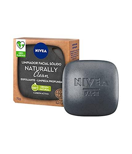 NIVEA Naturally Clean Exfoliante Facial Sólido Limpieza Profunda (1 x 75 g), limpiador facial 100% de origen natural, pastilla enriquecida con carbón activo