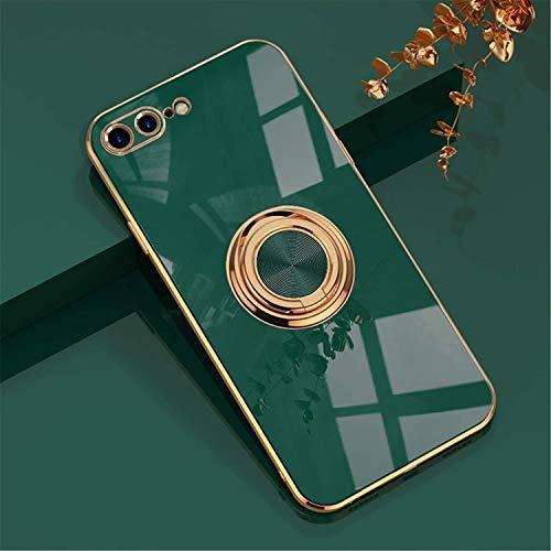EYZUTAK Hülle für iPhone 7 Plus iPhone 8 Plus, Glänzend Weiche Silikon TPU Slim Hülle mit 360 Grad Ring Ständer Bumper Stoßfest Schutzhülle Fingerhalter Magnetische Autohalterung Cover - Dunkel Grün