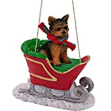 Conversation Concepts Yorkshire Terrier, Puppy Cut, Sleigh Ride Ornament