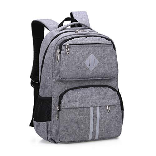 HOPYOCK School Bags for Boys,Kids,Girls,Multi-Pocket Teenage School Backpacks with Reflective Design,Waterproof Children School Bags,Casual Daypack Students' Rucksack,Fit Age 6 to 16,Grey