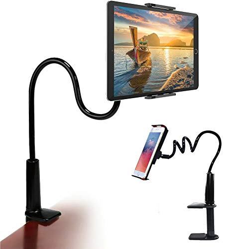 Gooseneck Tablet Phone Holder, Tablet Mount Holder Stand for 4.7-10.5' Devices Compatible with iPad Pro Air Mini iPhone Series/Kindle Fire/E-Reader/Switch Black