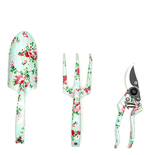 Garden Tools Set (4 pcs) - Garden Shears, Trowel, Hand Cultivator - Floral Gardening Tools for Women - Gardening Supplies Gardening Kit - Great Gardening Set for Outdoor and Indoor Gardening